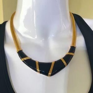 Nina Ricci GP & Enamel Choker Necklace